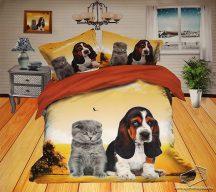 6 részes, 3D ágyneműhuzat garnitúra, állatos ágynemű, kutyus és cica