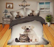 6 részes, 3D ágyneműhuzat garnitúra, állatos ágynemű, szürke kutyus és cica