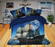 6 részes, 3D ágyneműhuzat garnitúra, pamut ágynemű, kék tenger és hajó