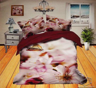 6 részes, 3D ágyneműhuzat garnitúra, virágos ágynemű, rózsaszín virág és pillangó