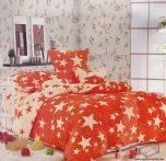 3 részes, 2 színű, egyszemélyes pamut ágyneműhuzat garnitúra, nagy csillagos Narancssárga krém