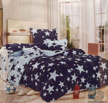 3 részes, 2 színű, egyszemélyes pamut ágyneműhuzat garnitúra, nagy csillagos Sötétkék kék