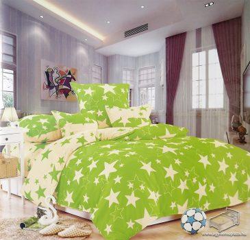 3 részes, 2 színű, egyszemélyes pamut ágyneműhuzat garnitúra, nagy csillagos Zöld krém