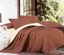 7 részes pamut ágynemű garnitúra, ágyneműhuzat garnitúra, Világosbarna és krém