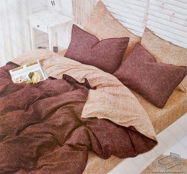 7 részes pamut ágynemű garnitúra, ágyneműhuzat garnitúra, Sötétbarna mintás