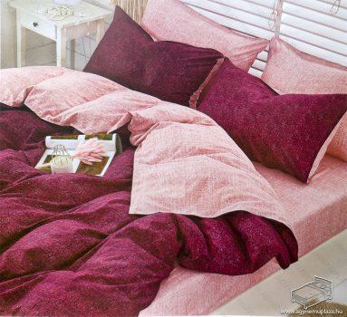 7 részes pamut ágynemű garnitúra, ágyneműhuzat garnitúra, Bordó és rózsaszín mintás