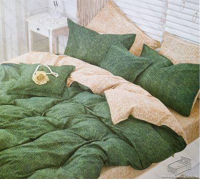 7 részes pamut ágynemű garnitúra, ágyneműhuzat garnitúra, Zöld mintás