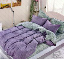 7 részes pamut ágynemű garnitúra, ágyneműhuzat garnitúra, Lila-szürke mintás