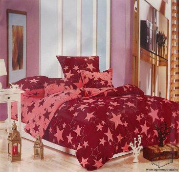 7 részes 2 színű csillagos ágynemű huzat garnitúra Bordó rózsaszín