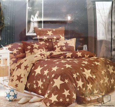 7 részes 2 színű csillagos ágynemű huzat garnitúra Barna