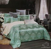 Selyem ágyneműhuzat garnitúra, 7 részes pamutszatén ágynemű, Zöld és krém