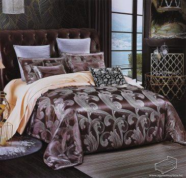 Selyem ágyneműhuzat garnitúra, 7 részes pamutszatén ágynemű, Csoki barna és krém
