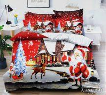 7 részes pamut ágynemű garnitúra, Karácsonyi ágyneműhuzat szett, piros Télapó