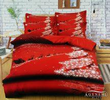 7 részes pamut ágynemű garnitúra, Karácsonyi ágyneműhuzat szett, piros Karácsonyfa