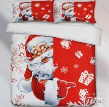 7 részes pamut ágynemű garnitúra, Karácsonyi ágyneműhuzat szett, piros vidám Télapó