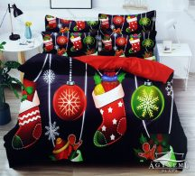 7 részes pamut ágynemű garnitúra, Karácsonyi ágyneműhuzat szett, Karácsonyi díszes