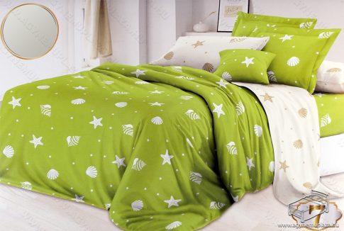 Ágyneműhuzat garnitúra, 7 részes pamut 2 színű, Zöld és krém kagylós