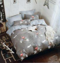 7 részes pamut ágynemű garnitúra, mintás ágyneműhuzat garnitúra, rózsaszín pelikán