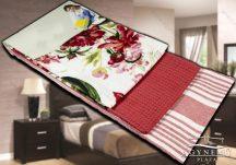 3 részes, mintás konyharuha szett, 45x70 cm, Piros virágos konyhakendő