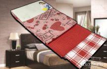 3 részes, mintás konyharuha szett, 45x70 cm, Piros szíves konyhakendő