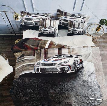Autós ágyneműhuzat garnitúra, 3 részes ágynemű garnitúra, Fehér sportautó