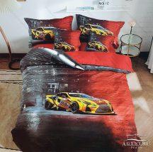 Autós ágyneműhuzat garnitúra, 3 részes ágynemű garnitúra, Sárga sportautó