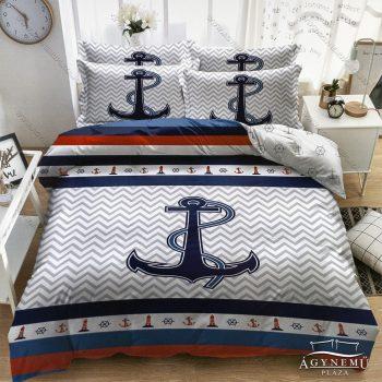 3 részes horgony ágynemű garnitúra, Anchor ágyneműhuzat garnitúra, kék Horgony