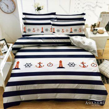 3 részes horgony ágynemű garnitúra, Anchor ágyneműhuzat garnitúra, kék és fehér hajós