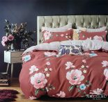 3 részes ágynemű garnitúra, ágyneműhuzat garnitúra, pamut ágynemű, Piros Virág