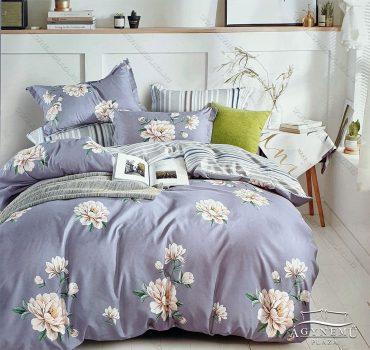 3 részes ágynemű garnitúra, ágyneműhuzat garnitúra, pamut ágynemű, Szürke Virág