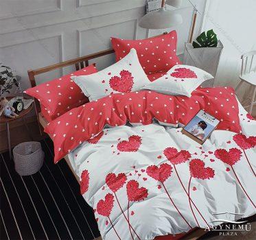 3 részes ágynemű garnitúra, ágyneműhuzat garnitúra, pamut ágynemű, Piros szíves
