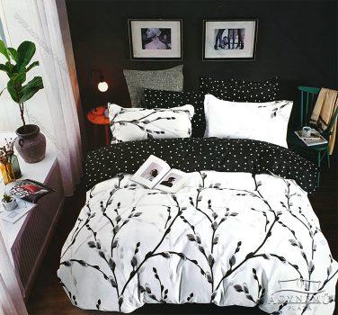 3 részes ágynemű garnitúra, ágyneműhuzat garnitúra, pamut ágynemű, Fekete virágos