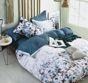 3 részes ágynemű garnitúra, ágyneműhuzat garnitúra, pamut ágynemű, Kék és fehér virágos