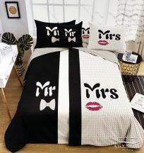 Mr. & Mrs. ágyneműhuzat garnitúra, Mr. és Mrs. ágynemű, fekete és fehér, rúzs és nyakkendő