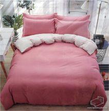 7 részes pamut ágynemű garnitúra, ágyneműhuzat garnitúra, Rózsaszín és fehér