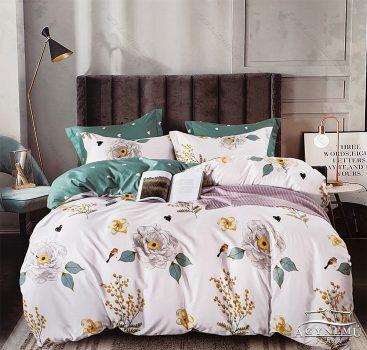 7 részes ágynemű garnitúra, ágyneműhuzat garnitúra, pamut ágynemű, Krém Virág
