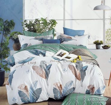 7 részes ágynemű garnitúra, ágyneműhuzat garnitúra, pamut ágynemű, Pasztell krém Virág