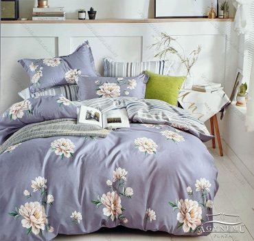 7 részes ágynemű garnitúra, ágyneműhuzat garnitúra, pamut ágynemű, Szürke Virág
