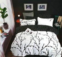 7 részes ágynemű garnitúra, ágyneműhuzat garnitúra, pamut ágynemű, Fekete virágos