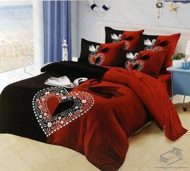 6 részes pamut ágynemű garnitúra, 220x200 cm ágyneműhuzat garnitúra, Mr. & Mrs. Piros és fekete hattyú