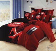 6 részes pamut ágynemű garnitúra, 220x200 cm ágyneműhuzat garnitúra, Mr. & Mrs. Piros és fekete rúzs és csók