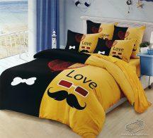 6 részes pamut ágynemű garnitúra, 220x200 cm ágyneműhuzat garnitúra, Mr. & Mrs. Sárga és fekete mintás