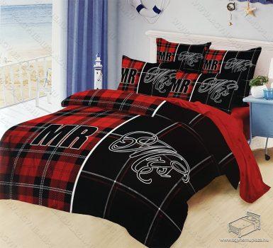 6 részes pamut ágynemű garnitúra, 220x200 cm ágyneműhuzat garnitúra, Mr. & Mrs. Piros és fekete mintás