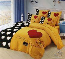 6 részes pamut ágynemű garnitúra, 220x200 cm ágyneműhuzat garnitúra, Mr. & Mrs. Sárga és fekete szív