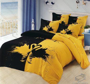 6 részes pamut ágynemű garnitúra, 220x200 cm ágyneműhuzat garnitúra, Mr. & Mrs. Sárga és fekete hattyú