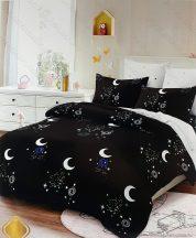 6 részes pamut ágynemű garnitúra, 220x200 cm ágyneműhuzat garnitúra, Fekete csillagkép