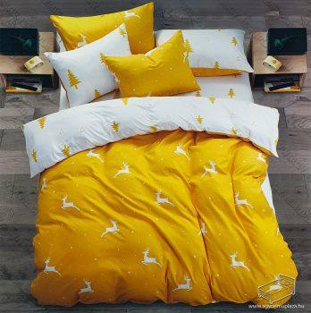 6 részes pamut ágynemű garnitúra, Karácsonyi ágyneműhuzat szett, Sárga szarvas