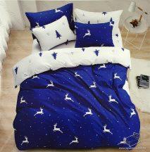 6 részes pamut ágynemű garnitúra, Karácsonyi ágyneműhuzat szett, Kék szarvas