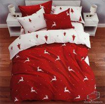 6 részes pamut ágynemű garnitúra, Karácsonyi ágyneműhuzat szett, Piros szarvas