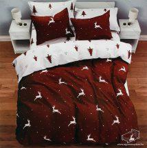 6 részes pamut ágynemű garnitúra, Karácsonyi ágyneműhuzat szett, Barna szarvas
